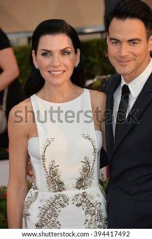 LOS ANGELES, CA - JANUARY 30, 2016: Actress Julianna Margulies & husband Keith Lieberthal at the 22nd Annual Screen Actors Guild Awards at the Shrine Auditorium - stock photo
