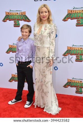 LOS ANGELES, CA - JANUARY 16, 2016: Actress Kate Hudson & son Ryder Robinson at the world premiere of Kung Fu Panda 3 at the TCL Chinese Theatre, Hollywood. - stock photo
