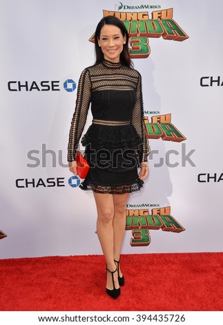 LOS ANGELES, CA - JANUARY 16, 2016: Actress Lucy Liu at the world premiere of Kung Fu Panda 3 at the TCL Chinese Theatre, Hollywood. - stock photo
