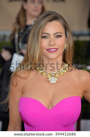 LOS ANGELES, CA - JANUARY 30, 2016: Actress Sofia Vergara at the 22nd Annual Screen Actors Guild Awards at the Shrine Auditorium - stock photo