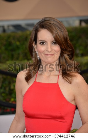 LOS ANGELES, CA - JANUARY 30, 2016: Actress Tina Fey at the 22nd Annual Screen Actors Guild Awards at the Shrine Auditorium - stock photo