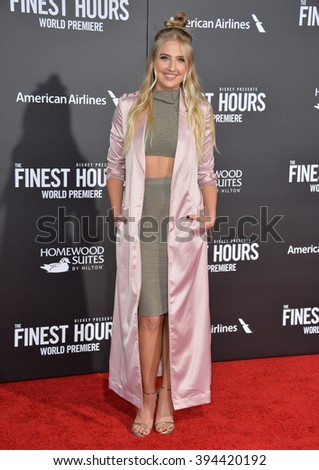 """LOS ANGELES, CA - JANUARY 25, 2016: Actress Veronica Dunne at the premiere of """"The Finest Hours"""" at the TCL Chinese Theatre, Hollywood. - stock photo"""