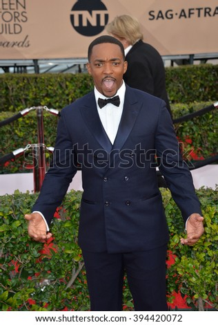 LOS ANGELES, CA - JANUARY 30, 2016: Anthony Mackie at the 22nd Annual Screen Actors Guild Awards at the Shrine Auditorium - stock photo