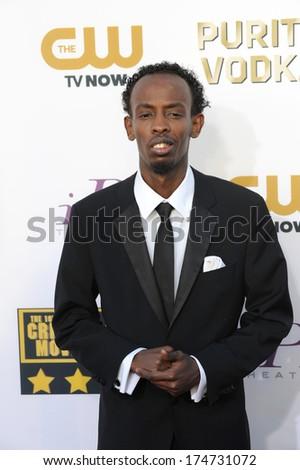 LOS ANGELES, CA - JANUARY 16, 2014: Barkhad Abdi at the 19th Annual Critics' Choice Awards at The Barker Hangar, Santa Monica Airport.  - stock photo