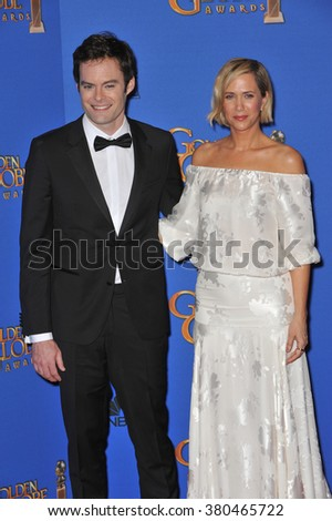 LOS ANGELES, CA - JANUARY 11, 2015: Bill Hader & Kirsten Wiig at the 72nd Annual Golden Globe Awards at the Beverly Hilton Hotel, Beverly Hills. - stock photo