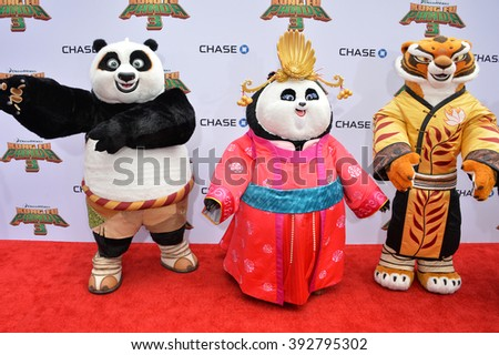 LOS ANGELES, CA - JANUARY 16, 2016: Characters at the world premiere of Kung Fu Panda 3 at the TCL Chinese Theatre, Hollywood. - stock photo