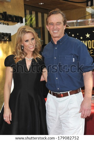 LOS ANGELES, CA - JANUARY 29, 2014: Cheryl Hines & Robert F. Kennedy Jr. on Hollywood Boulevard where she was honored with the 2,516th star on the Hollywood Walk of Fame.  - stock photo