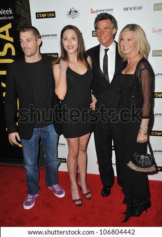 LOS ANGELES, CA - JANUARY 22, 2011: Chloe Lattanzi & fiance James Driscoll (left) & her mother Olivia Newton-John & husband John Easterling at the 2011 G'Day USA Black Tie Gala in Hollywood. - stock photo