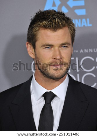 LOS ANGELES, CA - JANUARY 15, 2015: Chris Hemsworth at the 20th Annual Critics' Choice Movie Awards at the Hollywood Palladium.