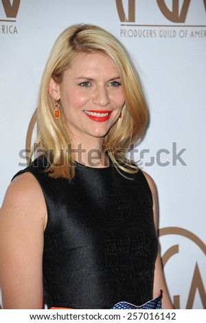 LOS ANGELES, CA - JANUARY 25, 2015: Claire Danes at the 26th Annual Producers Guild Awards at the Hyatt Regency Century Plaza Hotel.