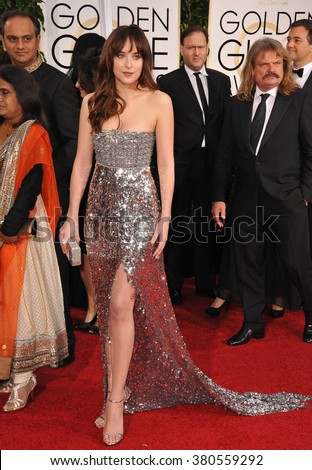 LOS ANGELES, CA - JANUARY 11, 2015: Dakota Johnson at the 72nd Annual Golden Globe Awards at the Beverly Hilton Hotel, Beverly Hills. - stock photo