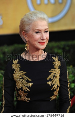 LOS ANGELES, CA - JANUARY 18, 2014: Dame Helen Mirren at the 20th Annual Screen Actors Guild Awards at the Shrine Auditorium.  - stock photo
