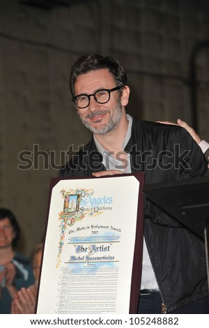 LOS ANGELES, CA - JANUARY 31, 2012: Director Michel Hazanavicius at Red Studios in Hollywood. January 31, 2012  Los Angeles, CA