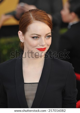 LOS ANGELES, CA - JANUARY 25, 2015: Emma Stone at the 2015 Screen Actors Guild  Awards at the Shrine Auditorium.  - stock photo
