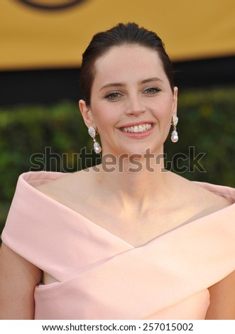 LOS ANGELES, CA - JANUARY 25, 2015: Felicity Jones at the 2015 Screen Actors Guild  Awards at the Shrine Auditorium.  - stock photo