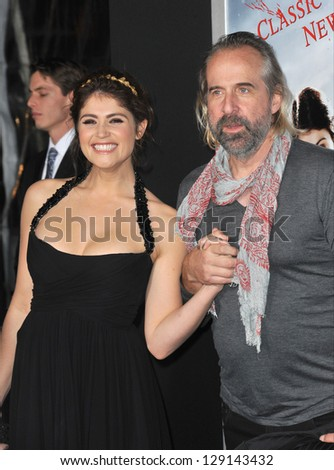 """LOS ANGELES, CA - JANUARY 24, 2013: Gemma Arterton & Peter Stormare at the Los Angeles premiere of their new movie """"Hansel & Gretel: Witch Hunters"""" at Grauman's Chinese Theatre, Hollywood. - stock photo"""