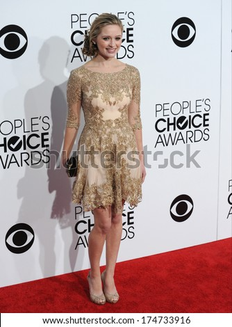 LOS ANGELES, CA - JANUARY 8, 2014: Greer Grammer at the 2014 People's Choice Awards at the Nokia Theatre, LA Live.  - stock photo