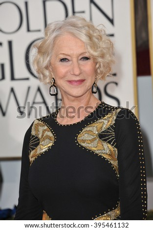 LOS ANGELES, CA - JANUARY 13, 2013: Helen Mirren at the 70th Golden Globe Awards at the Beverly Hilton Hotel. - stock photo