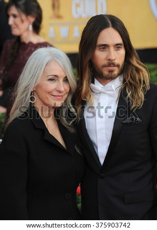 LOS ANGELES, CA - JANUARY 18, 2014: Jared Leto & mother Constance Leto at the 20th Annual Screen Actors Guild Awards at the Shrine Auditorium.