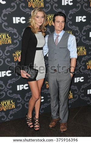 "LOS ANGELES, CA - JANUARY 7, 2014: Jellybean Howie & boyfriend at the premiere of her TV series ""The Spoils of Babylon"" at the Directors Guild of America Theatre."