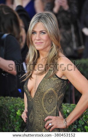 LOS ANGELES, CA - JANUARY 25, 2015: Jennifer Aniston at the 2015 Screen Actors Guild  Awards at the Shrine Auditorium.