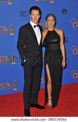 LOS ANGELES, CA - JANUARY 11, 2015: Jennifer Aniston & Benedict Cumberbatch at the 72nd Annual Golden Globe Awards at the Beverly Hilton Hotel, Beverly Hills. - stock photo