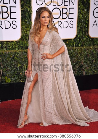 LOS ANGELES, CA - JANUARY 11, 2015: Jennifer Lopez at the 72nd Annual Golden Globe Awards at the Beverly Hilton Hotel, Beverly Hills. - stock photo