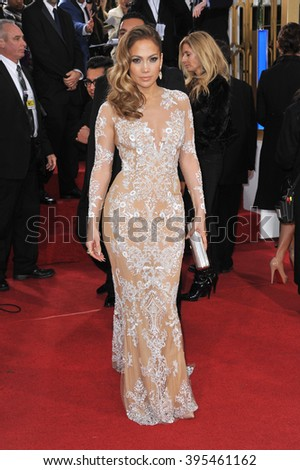 LOS ANGELES, CA - JANUARY 13, 2013: Jennifer Lopez at the 70th Golden Globe Awards at the Beverly Hilton Hotel. - stock photo