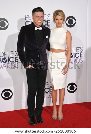 LOS ANGELES, CA - JANUARY 7, 2015: Jesse McCartney & Katie Peterson at the 2015 People's Choice  Awards at the Nokia Theatre L.A. Live downtown Los Angeles.