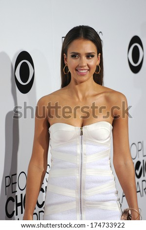 LOS ANGELES, CA - JANUARY 8, 2014: Jessica Alba at the 2014 People's Choice Awards at the Nokia Theatre, LA Live.  - stock photo