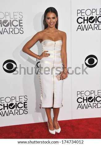 LOS ANGELES, CA - JANUARY 8, 2014: Jessica Alba at the 2014 People's Choice Awards at the Nokia Theatre, LA Live.  - stock photo