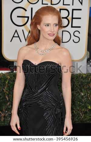 LOS ANGELES, CA - JANUARY 12, 2014: Jessica Chastain at the 71st Annual Golden Globe Awards at the Beverly Hilton Hotel.