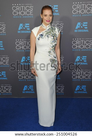 LOS ANGELES, CA - JANUARY 15, 2015: Jessica Chastain at the 20th Annual Critics' Choice Movie Awards at the Hollywood Palladium.  - stock photo