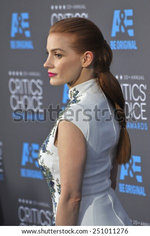 LOS ANGELES, CA - JANUARY 15, 2015: Jessica Chastain at the 20th Annual Critics' Choice Movie Awards at the Hollywood Palladium.  - stock photo
