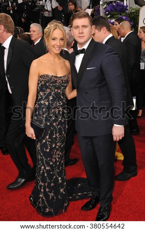 LOS ANGELES, CA - JANUARY 11, 2015: Joanne Froggatt & Allen Leech at the 72nd Annual Golden Globe Awards at the Beverly Hilton Hotel, Beverly Hills.