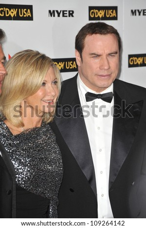 LOS ANGELES, CA - JANUARY 16, 2010: John Travolta & Olivia Newton-John at the 2010 G'Day USA Australia Week Black Tie Gala at the Grand Ballroom at Hollywood & Highland. - stock photo