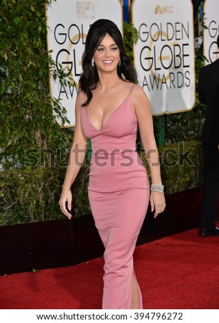 LOS ANGELES, CA - JANUARY 10, 2016: Katy Perry at the 73rd Annual Golden Globe Awards at the Beverly Hilton Hotel.