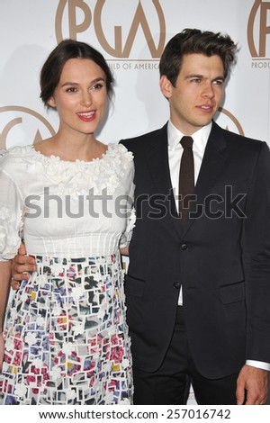 LOS ANGELES, CA - JANUARY 25, 2015: Keira Knightley & husband James Righton at the 26th Annual Producers Guild Awards at the Hyatt Regency Century Plaza Hotel.  - stock photo