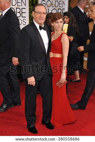LOS ANGELES, CA - JANUARY 11, 2015: Kevin Spacey & Kate Mara at the 72nd Annual Golden Globe Awards at the Beverly Hilton Hotel, Beverly Hills. - stock photo