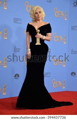 LOS ANGELES, CA - JANUARY 10, 2016: Lady Gaga at the 73rd Annual Golden Globe Awards at the Beverly Hilton Hotel. - stock photo