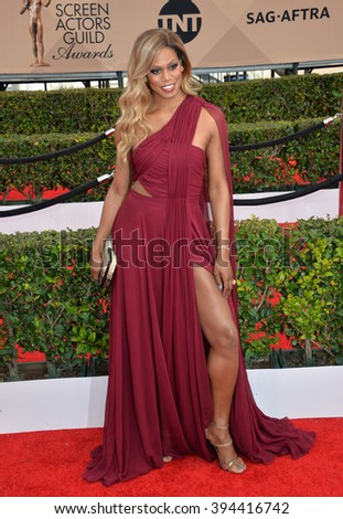 LOS ANGELES, CA - JANUARY 30, 2016: Laverne Cox - Orange is the New Black - at the 22nd Annual Screen Actors Guild Awards at the Shrine Auditorium - stock photo