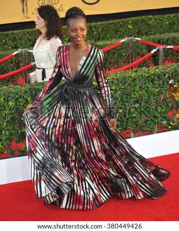 LOS ANGELES, CA - JANUARY 25, 2015: Lupita Nyong'o at the 2015 Screen Actors Guild  Awards at the Shrine Auditorium. - stock photo
