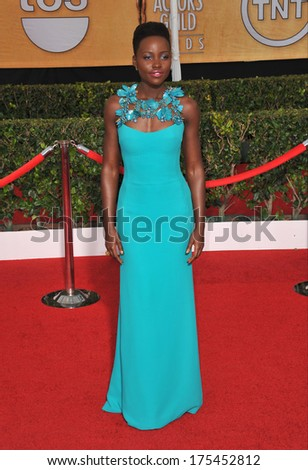 LOS ANGELES, CA - JANUARY 18, 2014: Lupita Nyong'o at the 20th Annual Screen Actors Guild Awards at the Shrine Auditorium.  - stock photo