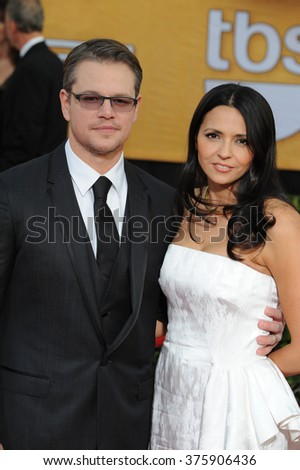 LOS ANGELES, CA - JANUARY 18, 2014: Matt Damon & wife Luciana Barroso at the 20th Annual Screen Actors Guild Awards at the Shrine Auditorium.