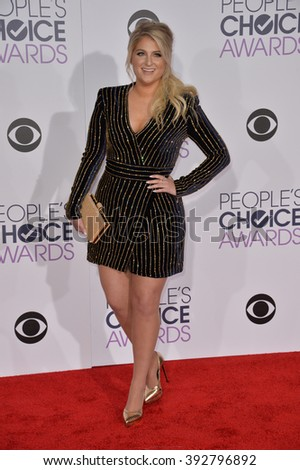 LOS ANGELES, CA - JANUARY 6, 2016: Meghan Trainor at the People's Choice Awards 2016 at the Microsoft Theatre LA Live. - stock photo