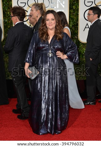 LOS ANGELES, CA - JANUARY 10, 2016: Melissa McCarthy at the 73rd Annual Golden Globe Awards at the Beverly Hilton Hotel.