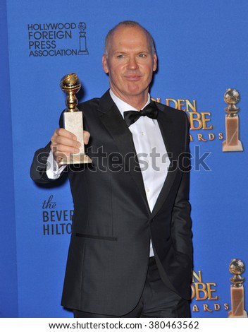 LOS ANGELES, CA - JANUARY 11, 2015: MIchael Keaton at the 72nd Annual Golden Globe Awards at the Beverly Hilton Hotel, Beverly Hills. - stock photo