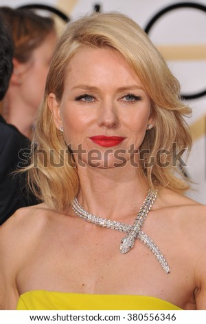 LOS ANGELES, CA - JANUARY 11, 2015: Naomi Watts at the 72nd Annual Golden Globe Awards at the Beverly Hilton Hotel, Beverly Hills. - stock photo