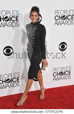 LOS ANGELES, CA - JANUARY 8, 2014: Nina Dobrev at the 2014 People's Choice Awards at the Nokia Theatre, LA Live.
