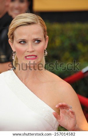 LOS ANGELES, CA - JANUARY 25, 2015: Reese Witherspoon at the 2015 Screen Actors Guild  Awards at the Shrine Auditorium.  - stock photo